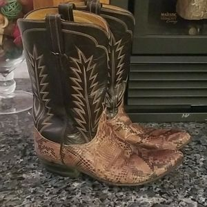Vintage Womens Snakeskin Cowboy Boots Size 8
